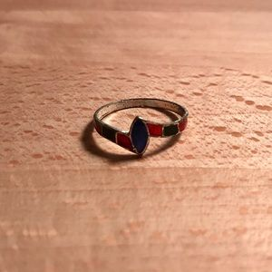 Red and Blue Pinky Ring
